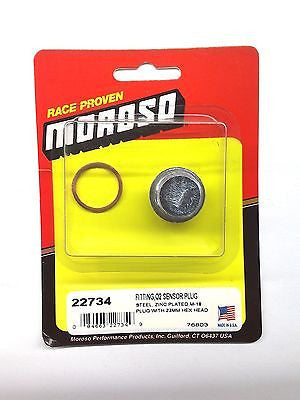 MOROSO 22734 O2 Sensor Plug Fitting-Steel-Zinc Plated M-18 plug-23mm Hex Head