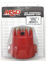 MSD 8433 RED Distributor Cap w/ Wire Retainer for Chevy V8 HEI-Brass Terminals