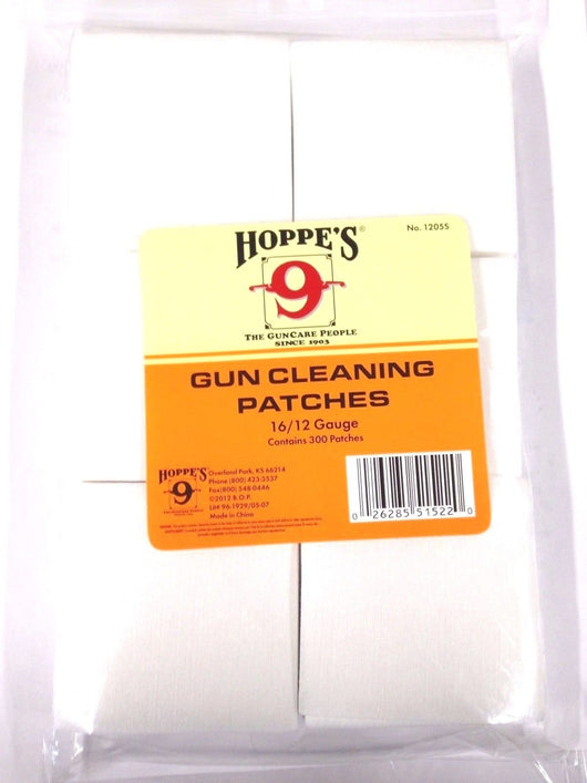 Hoppe's No. 9 Gun Cleaning Patches for 16-Guage/12-Guage (300 Pack)