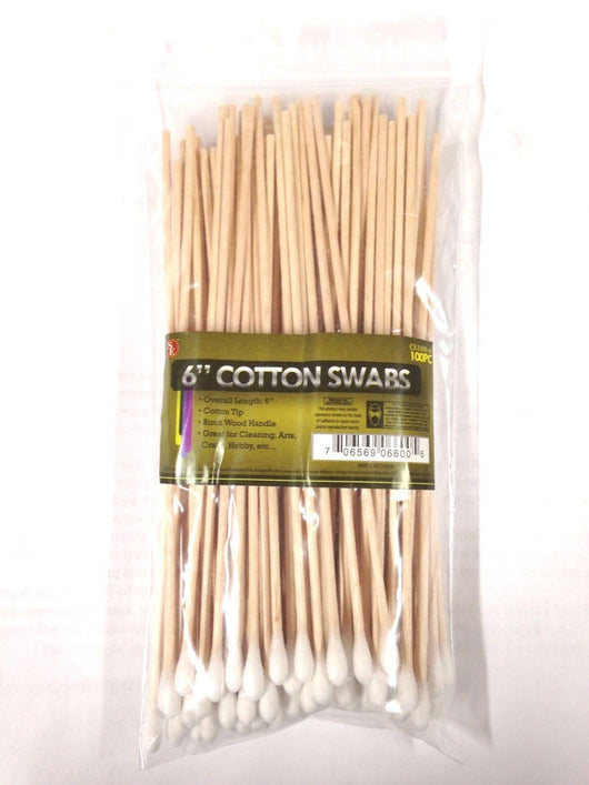 "SE CS100-6 6"" Cotton Swabs with Wooden Handles (Pack of 100)"