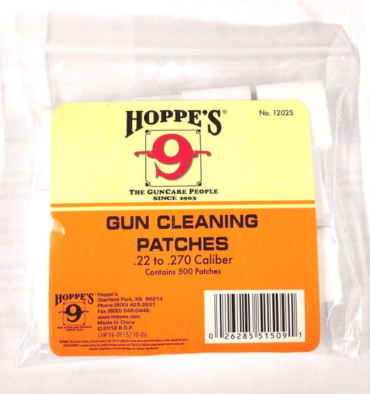 Hoppe's No. 9 Gun Cleaning Patches for .22-.270 Caliber (500 Pack)