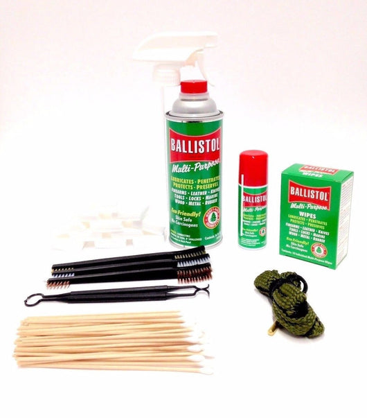 Gun Cleaning Kit .38 Caliber, Gun Lovers - Ballistol, Bore Snake, Patches, Swabs