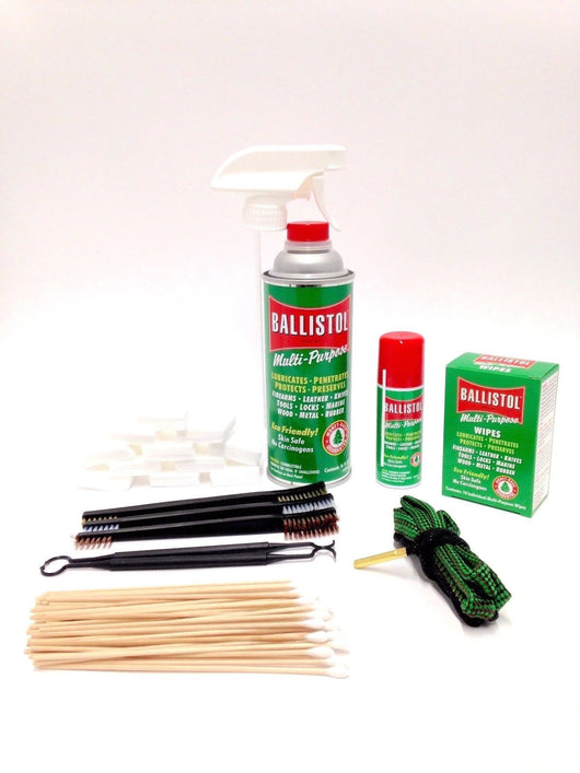 Gun Cleaning Kit .22 Caliber, Gun Lovers - Ballistol, Bore Snake, Patches, Swabs