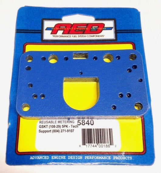 AED 5840 Holley 4150 4160 Non-Stick Metering Block Gaskets, Blue Fiber