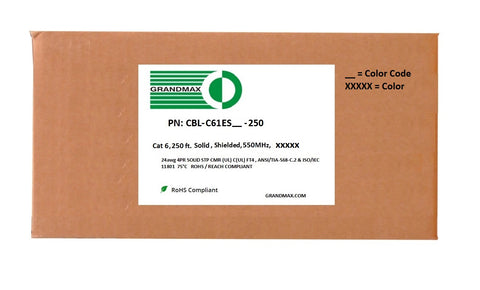 Cat6 Bulk Cable - Solid Shielded, 550Mhz, STP, CMR (Riser Rated), Bare Copper Wire, 24AWG, 250ft