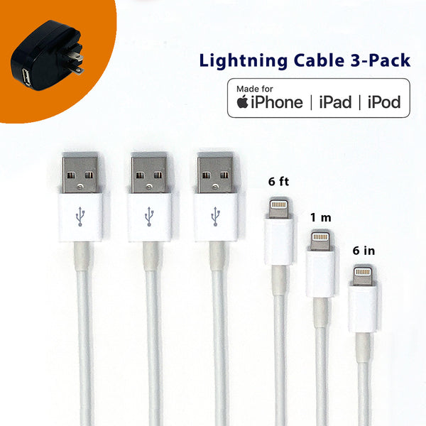 MFi Lightning to USB A 2.0 Charging and Syncing Cable - 3 Pack [1M/6FT/6INCH] with Free Car or Wall Charger