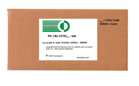 Cat5e Bulk Cable - Solid Shielded, 350Mhz, STP, CMR (Riser Rated), Bare Copper Wire, 24AWG, 500FT