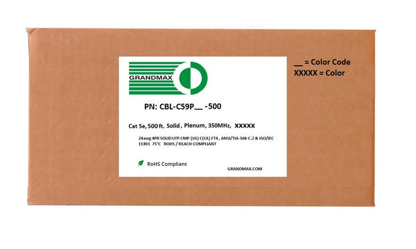 Cat5e Bulk Cable - Solid, 350Mhz, CMP (Plenum), Bare Copper Wire, 24AWG, 500ft