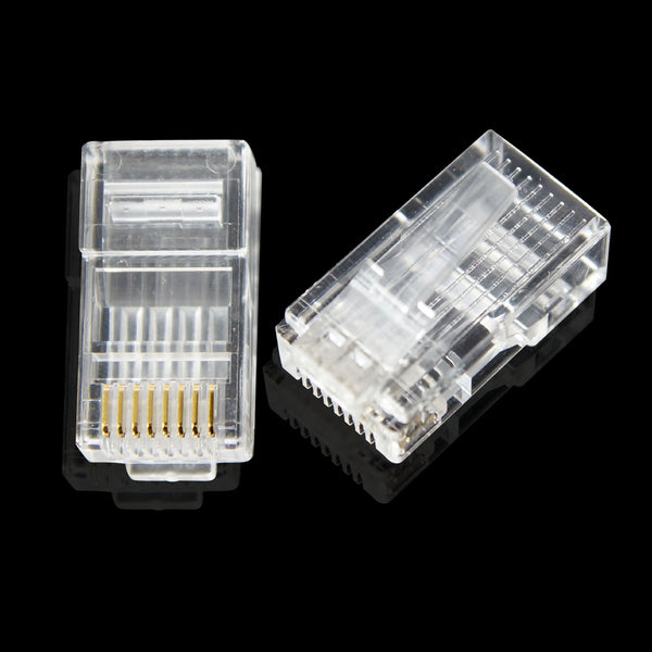 200pcs Cat5e Modular Plug Connectors - RJ45 8P8C 50u for Cat5e - GRANDMAX.com