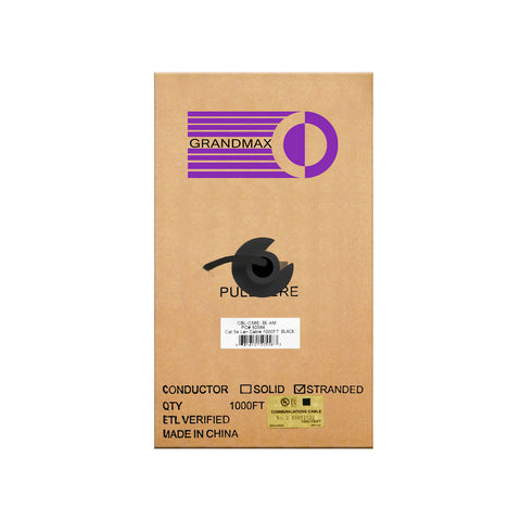 Cat5e Bulk Cable Stranded Unshielded - Black - GRANDMAX.com