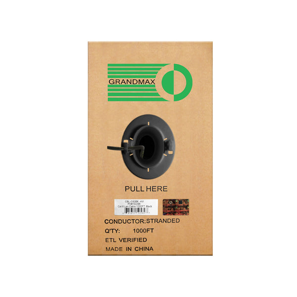 Cat6 Bulk Cable Stranded Unshielded - Black - GRANDMAX.com
