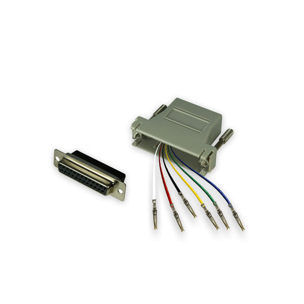 Modular Adapter Kit - DB25 Female to RJ12 Female - 6 Conductor