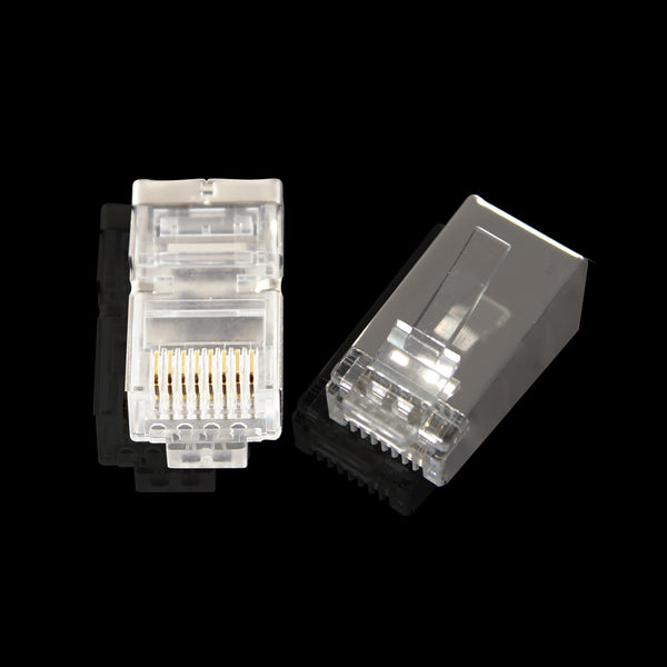 200pcs Shielded Cat5e Modular Plug Connectors - RJ45 8P8C - GRANDMAX.com