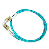 Duplex Multimode Fiber Optic Cable - LC/LC, OM3, 10Gig, Aqua - GRANDMAX.com