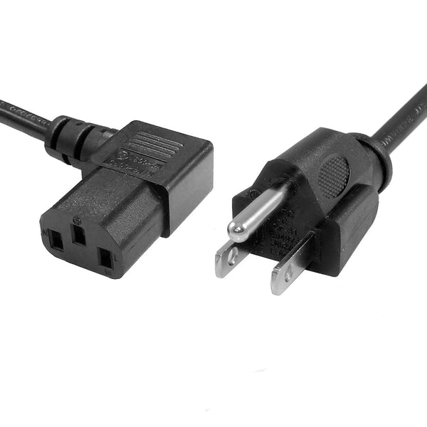 Power Cord - 6FT Right Angle NEMA 5-15P to C13 SVT, 18AWG 125V 10A,  UL/CSA ,Black