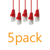 5 Pack - Cat6 Slim Patch Cable Molded Snagless Boot - Red GRANDMAX.com