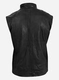4 Pocket Men's Black Leather Vest