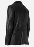 Elegant Black Leather Blazer Jacket for Men