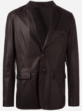 Elegant Brown Leather Blazer Jacket for Men