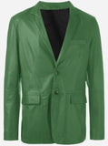Elegant Green Leather Blazer Jacket for Men