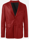 Elegant Red Leather Blazer Jacket for Men