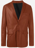 Elegant Tan Leather Blazer Jacket for Men