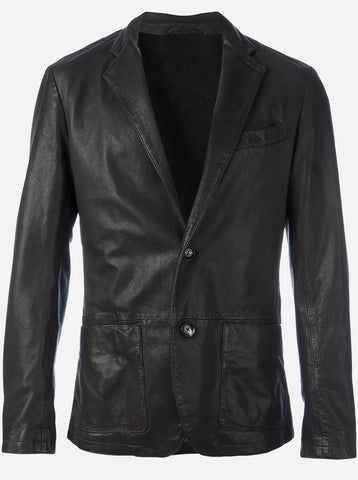 Lightweight 2 Button Men Black Leather Car Coat