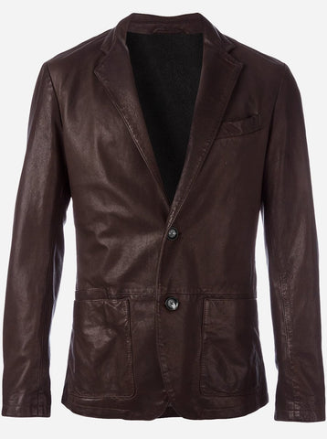 Lightweight 2 Button Men Brown Leather Car Coat