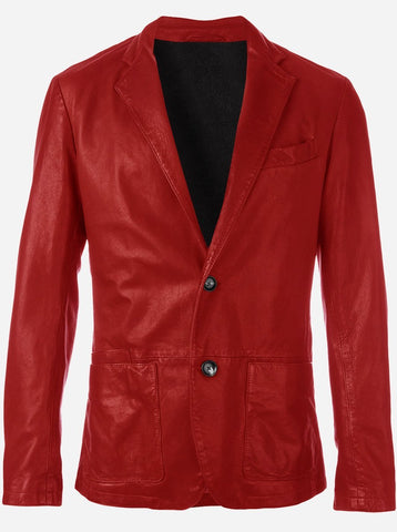 Lightweight 2 Button Men Red Leather Car Coat