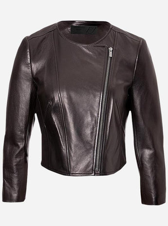 Collarless Leather Jacket for Women