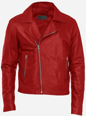 Biker Look Men's Red Double Rider Leather Jacket