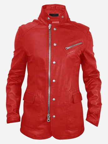 Biker Look Women Red Leather Jacket