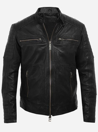 Cool Men Black Motorcycle Leather Jacket