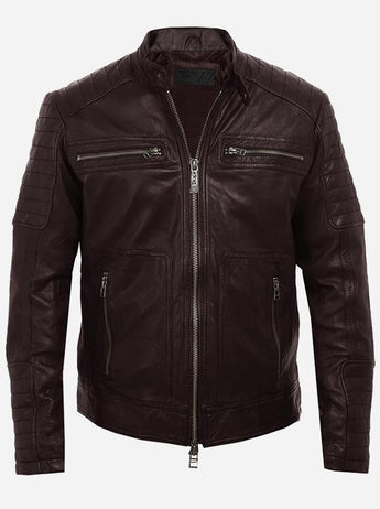 Cool Men's Brown Motorcycle Leather Jacket