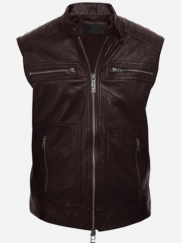 Brown Motorcycle Leather Vest for Men
