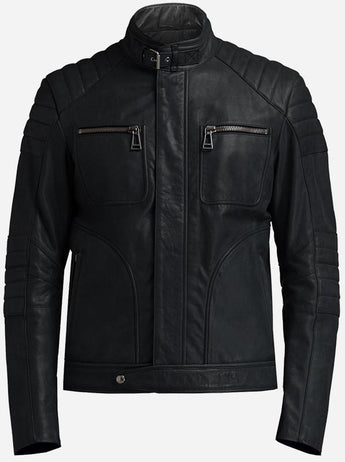 Cafe Racer Premium Men's Black Leather Jacket