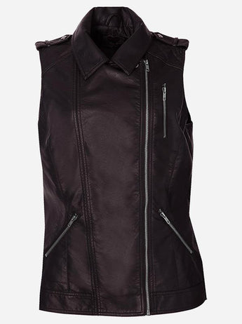 Women Brown Leather Vest