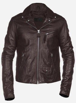 Hand-Made Menswear Slimfit Brown Leather Jacket