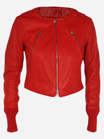 Women's Red Fashion Leather Jacket