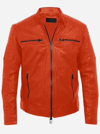Cool Men's Orange Leather Jacket