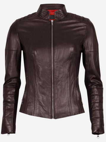 Women Brown Fitted Leather Jacket