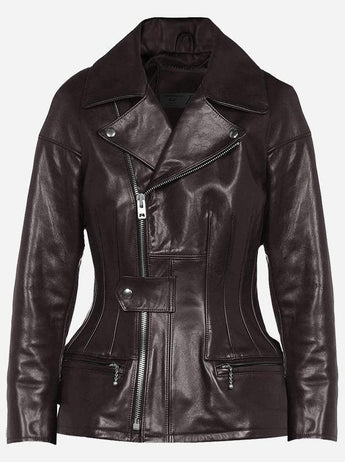 Women Brown Leather Fashion Jacket