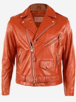 Draped Lapel Orange Leather Jacket for Men