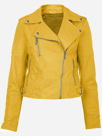 Fashionable Quilted Women Yellow Leather Jacket
