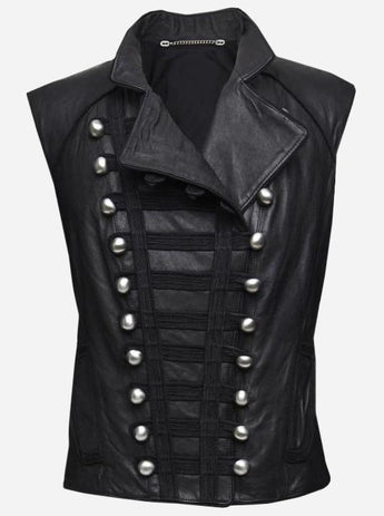 Women Miltary Black Leather Vest
