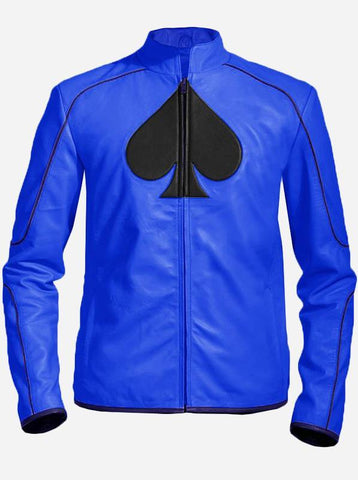 Hand-Made Blue Formal Ace Leather Biker Jacket Men