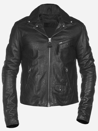 Hand-Made Menswear Black Slimfit Leather Jacket