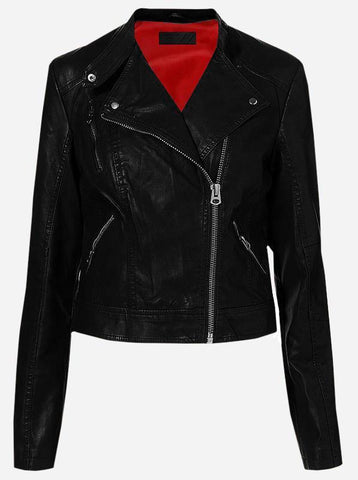 K Racer Women Black Biker Leather Jacket