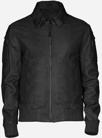 Lightweight Men Bomber Street Style Black Leather Jacket Faechan