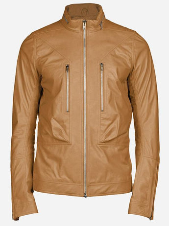 Lightweight Tan Leather Jacket Men